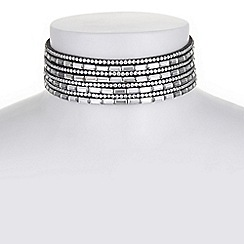 Mood - Grey multi row crystal choker