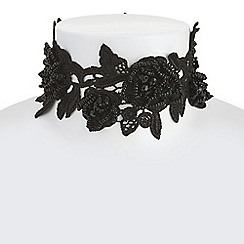 Mood - Black floral lace choker necklace