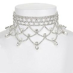 Mood - Silver diamante drape choker necklace