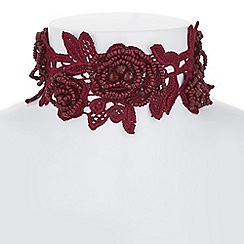 Mood - Red floral lace choker necklace