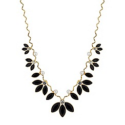Mood - Jet crystal leaf necklace