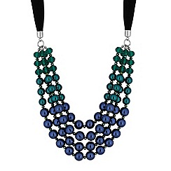 Mood - Tonal blue pearl ribbon necklace
