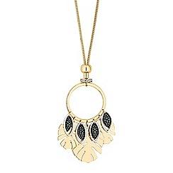 Mood - Palm leaf drop long necklace