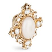 Statement oval pearl and crystal stretch ring