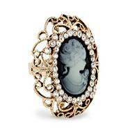 Statement cameo crystal surround adjustable ring