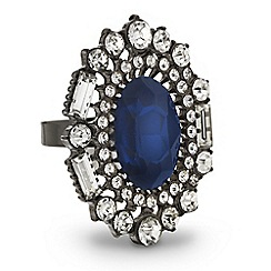 Mood - Blue oval crystal surround adjustable ring