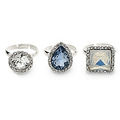 Mood - Set of three stone surround adjustable rings