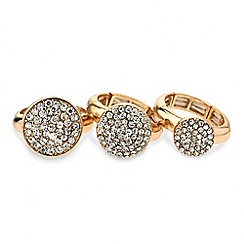 Mood - Set of three crystal disc stretch rings