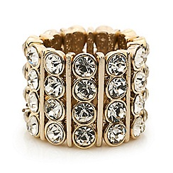 Mood - Crystal bar gold stretch ring