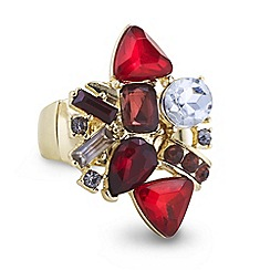 Mood - Mixed red stone cluster stretch ring