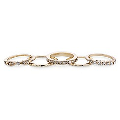 Mood - Pack of five diamante gold band midi rings