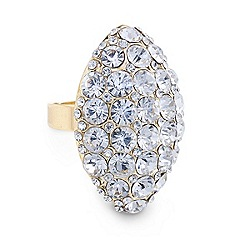Mood - Gold crystal embellished diamond shaped ring
