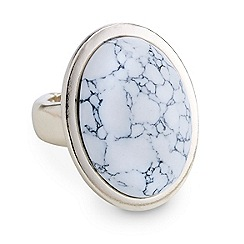Mood - White marbleized oval stone gold adjustable ring