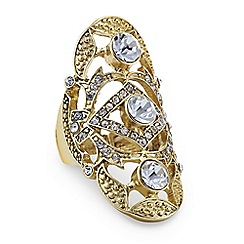 Mood - Gold crystal armour stretch ring