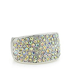 Mood - Silver crystal pave square ring