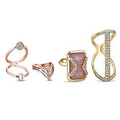 Mood - Multi tone crystal ring set