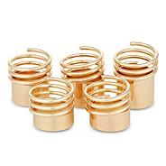 Spring effect gold stacker ring set