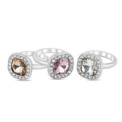 Mood - Square crystal surround stacker ring set
