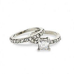 Mood - Square stone crystal embellished band ring set