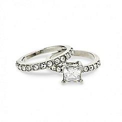 Mood - Square stone crystal embellished band ring set