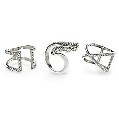 Mood - Crystal embellished triple ring set