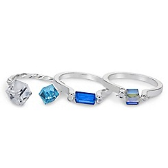 Mood - Blue geometric crystal ring pack