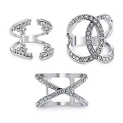 Mood - Triple set crystal embellished open rings