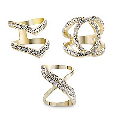 Mood - Triple set gold crystal encased open rings