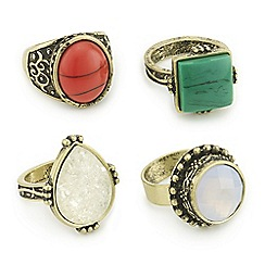 Mood - Tribal stone multi ring pack