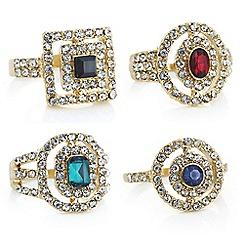 Mood - Gold crystal ornate ring set