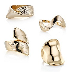Mood - Gold textured multi ring set