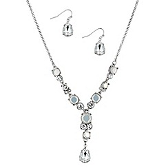 Mood - White opalesque stone y necklace and earring set