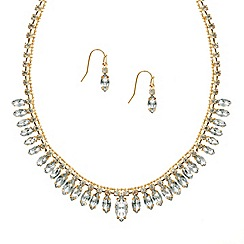 Mood - Crystal navette stone drop necklace and earring set
