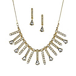 Mood - Crystal stick and peardrop necklace and earring set