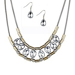 Mood - Peardrop and tubular link necklace and earring set