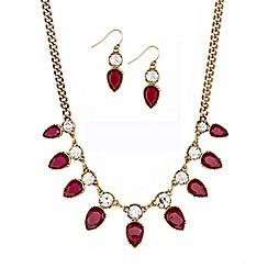 Mood - Burgundy teardrop necklace and earring set