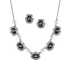 Mood - Oval stone and pearl link necklace and earring set