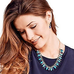 Mood - Blue navette stone drop necklace and earring set