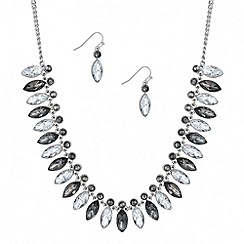 Mood - Grey navette stone necklace and drop earring set