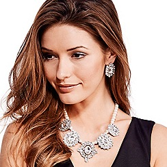 Mood - Pearl and crystal five drop necklace and earring set