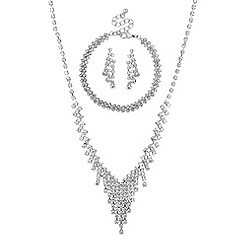 Mood - Silver diamante crystal trio jewellery set