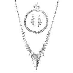 Mood - Silver diamante crystal trio jewellery set