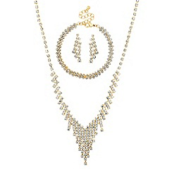 Mood - Gold diamante crystal trio jewellery set