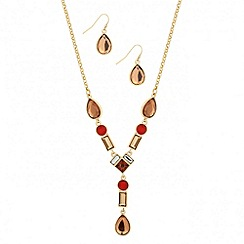 Mood - Tonal brown peardrop necklace and earring set