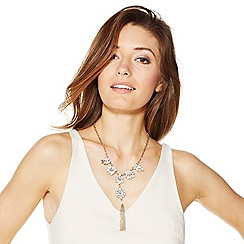 Mood - White opalesque stone and tassel drop necklace and earring set