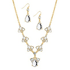 Mood - Crystal tear shaped y drop necklace and earring set