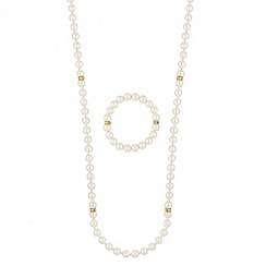 Mood - Long pearl and crystal rondel necklace and bracelet set