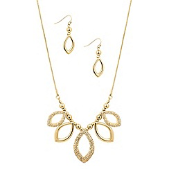 Mood - Polished gold and crystal navette necklace and earring set