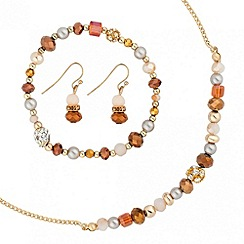 Mood - Mixed brown and pearl facet bead trio jewellery set