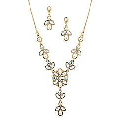 Mood - Gold and pearl flower necklace and earring set